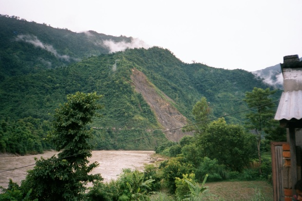 Landslide viewed from the other side of the river